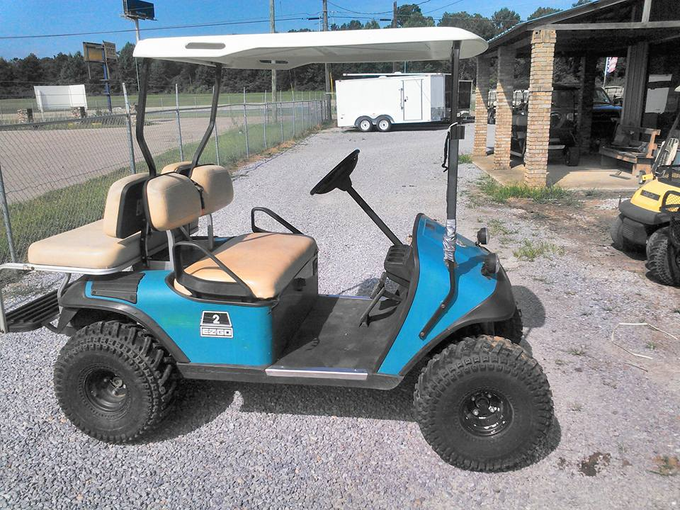 blue golf cart, e-z-go golf cart
