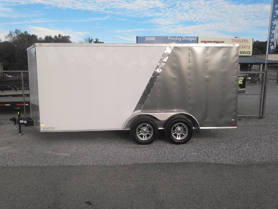 WHITE AND GRAY ENCLOSED TRAILER